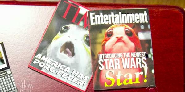 Star Wars: Gli Ultimi Jedi, BB-8 rattristato dal successo dei Porg in uno sketch del Late Show di Stephen Colbert