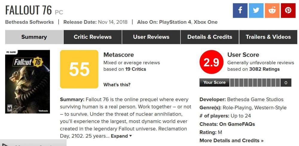 Fallout 76 Metacritic