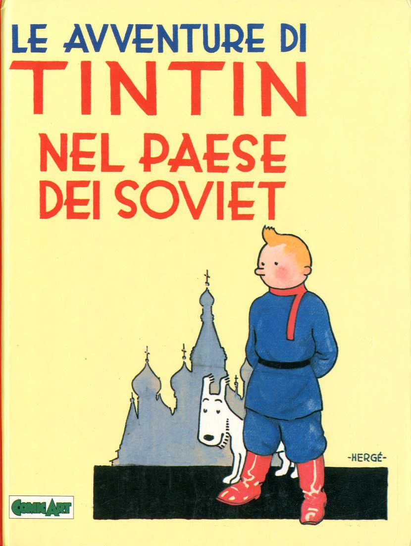 Tintin al Paese dei Soviet, copertina di Hergé