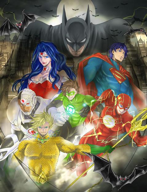 La Justice League, disegno di Shiori Teshirogi