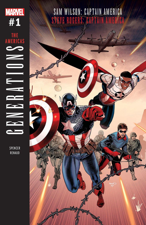 Generations: The Americas - Sam Wilson: Captain America & Steve Rogers: Captain America #1, copertina di Paul Renaud
