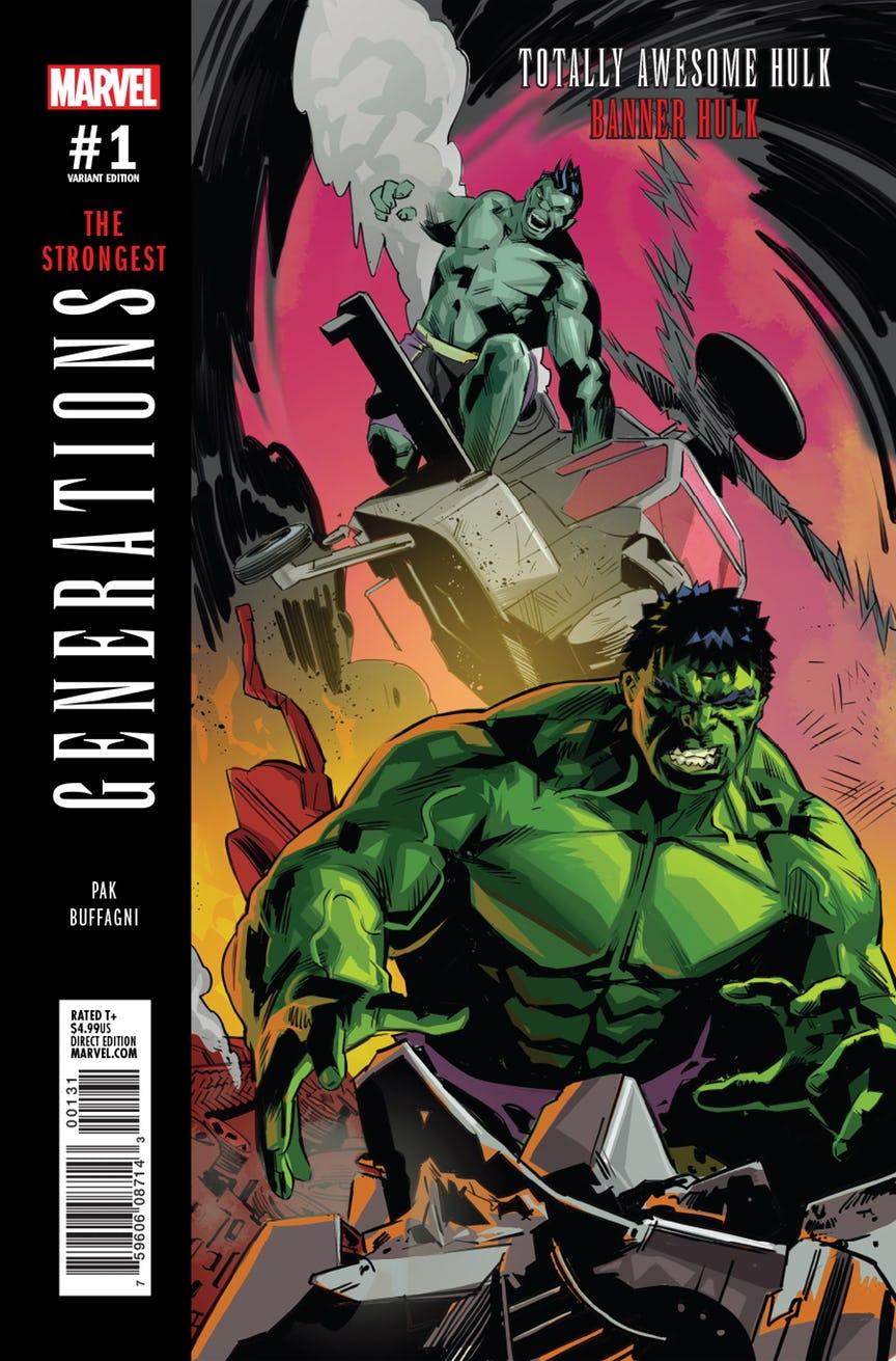 Generations: Banner Hulk & The Totally Awesome Hulk #1, copertina di Matteo Buffagni