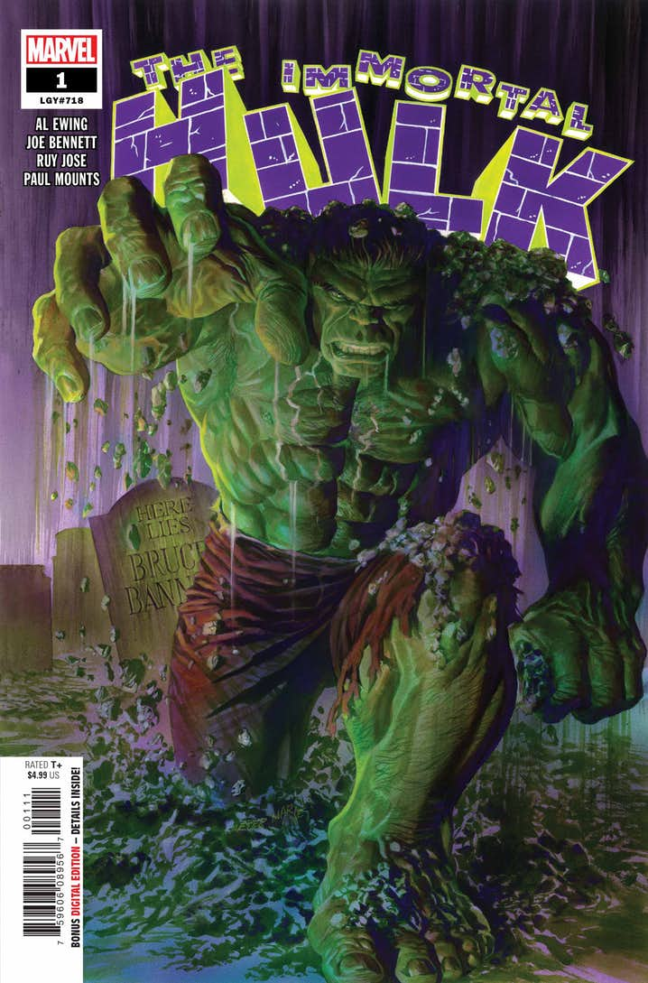 Immortal Hulk #1, copertina di Alex Ross