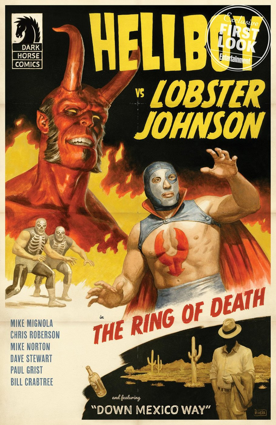 Hellboy vs. Lobster Johnson: The Ring of Death, copertina di Paolo Rivera