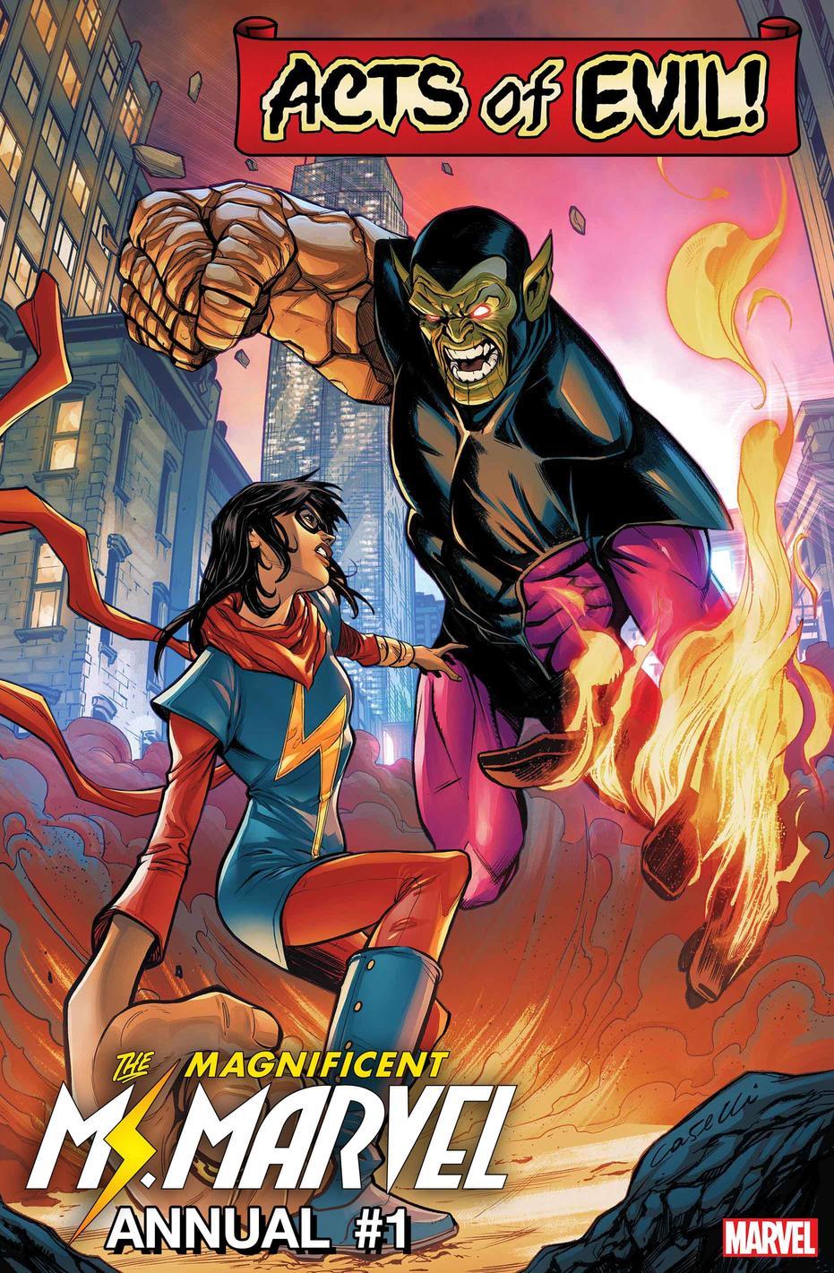 Ms. Marvel Annual #1: Ms. Marvel vs. Super Skrull, copertina di Stefano Caselli