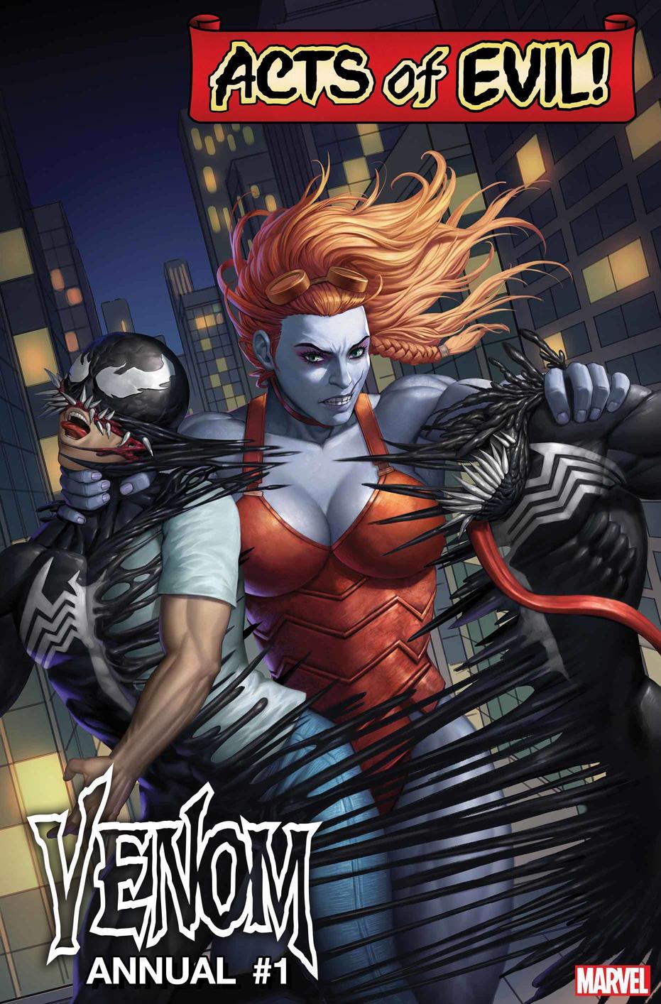 Venom Annual #1: Venom vs. Lady Hellbender, copertina di Woo Dae Shim