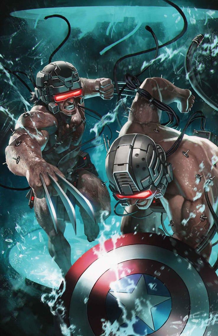 Wolverine & Captain America: Weapon Plus #1, copertina di Skan