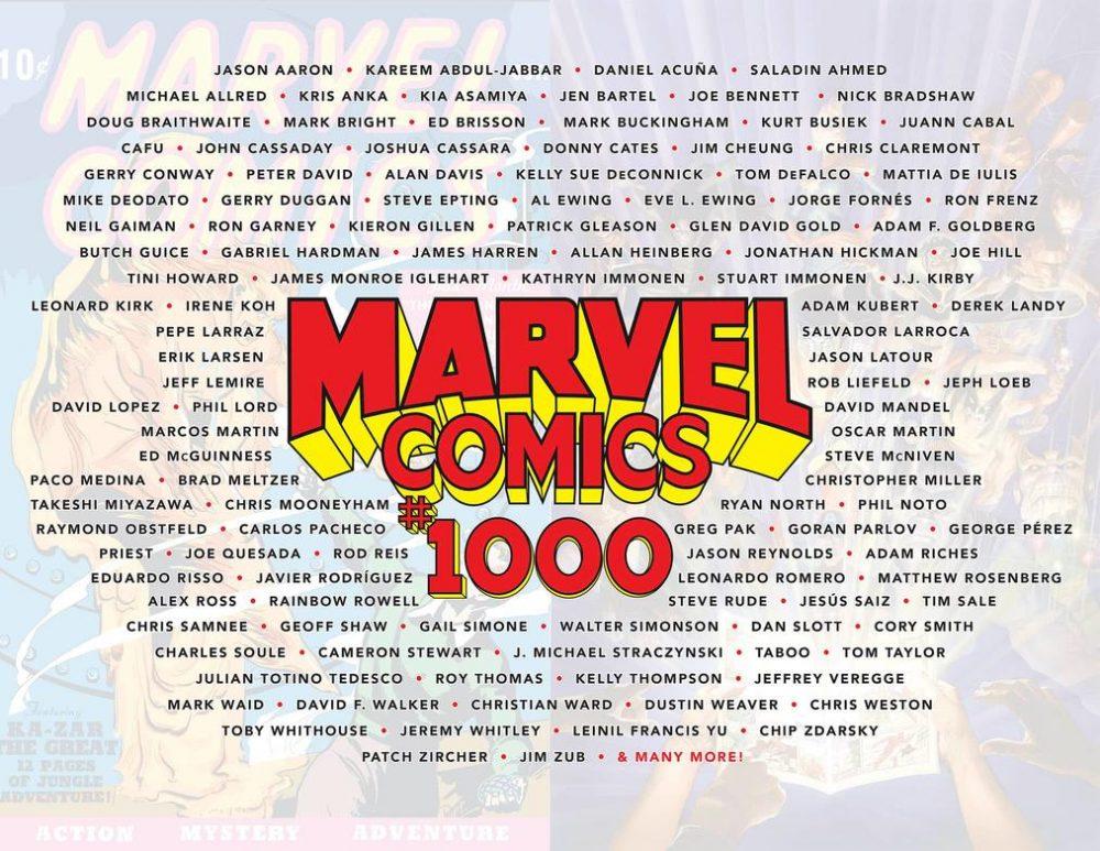 Marvel Comics #1000, gli autori