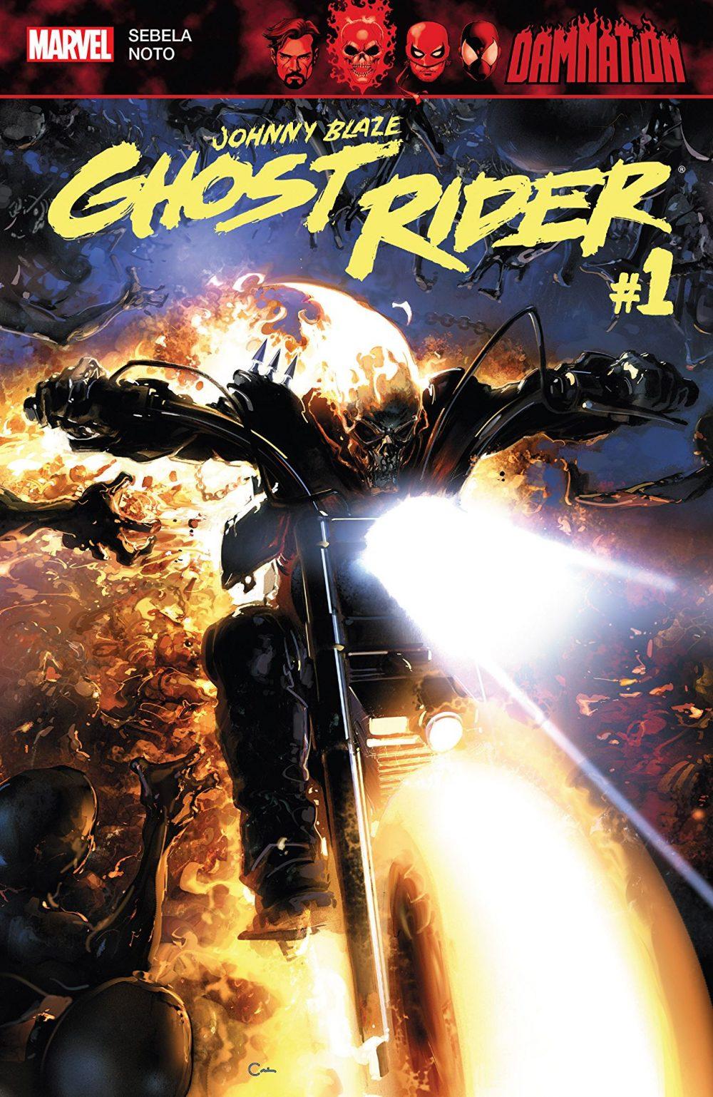Damnation - Johnny Blaze: Ghost Rider #1, copertina di Clayton Crain