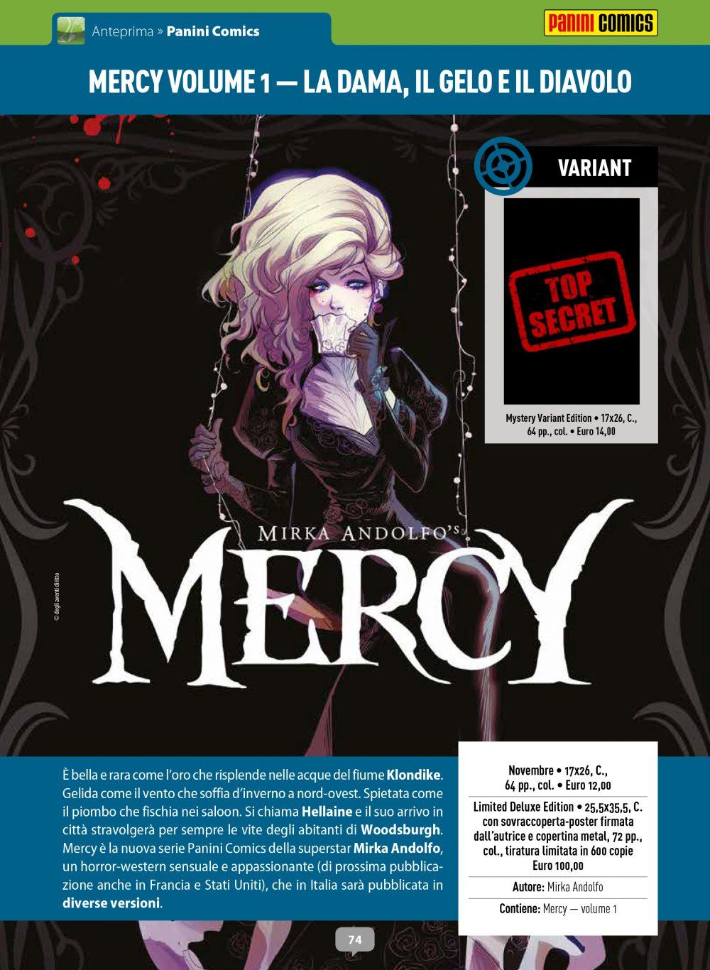 Mercy volume 1: la dama, il gelo e il diavolo, copertina di Mirka Andolfo