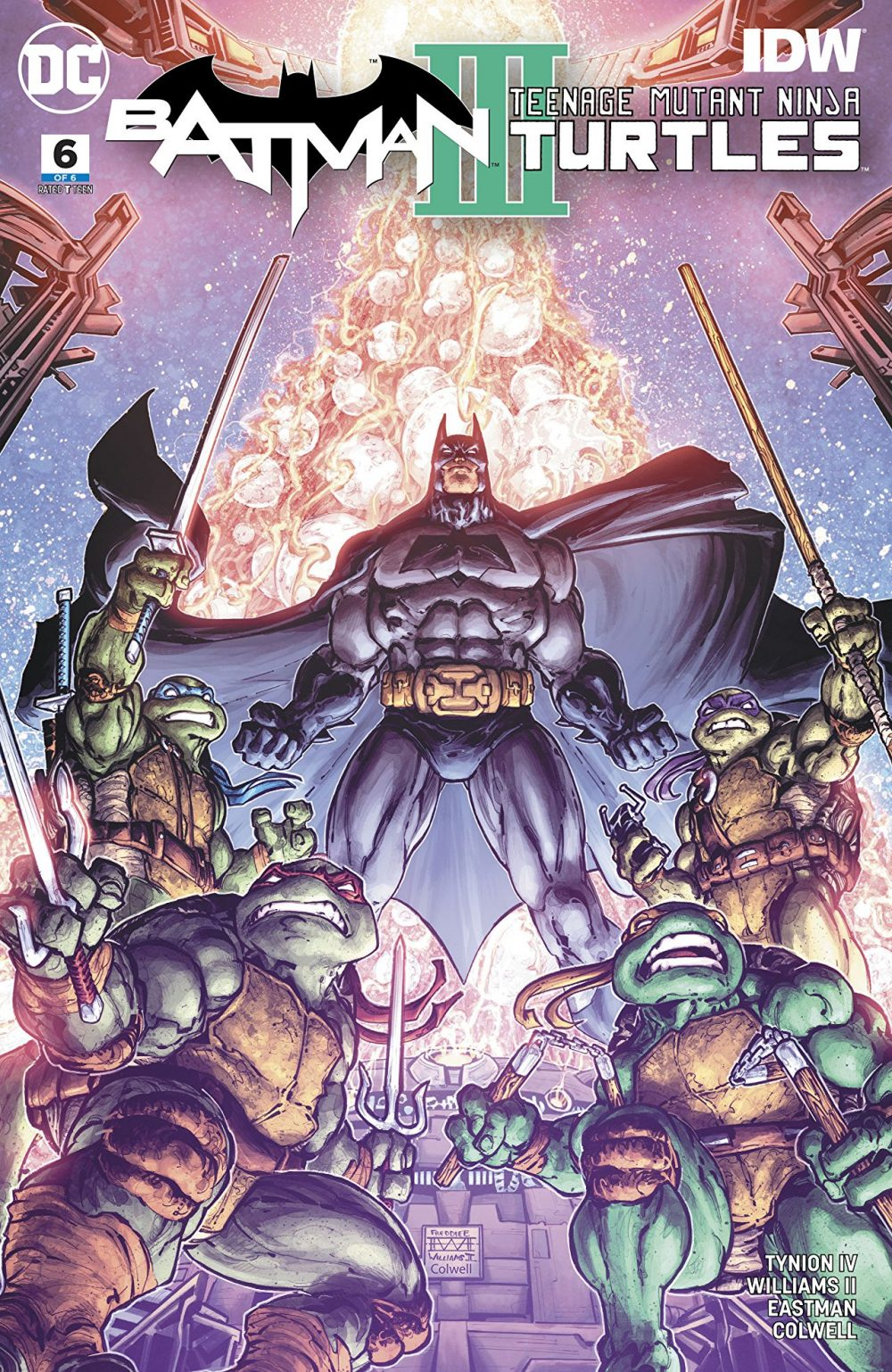 Batman/Teenage Mutant Ninja Turtles III #6, copertina di Freddie Williams II